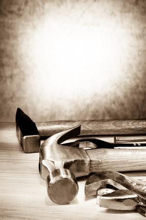 herramientas de construccion: conjunto de herramientas de la construcción en la madera