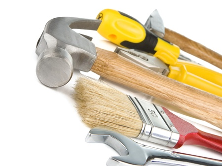 construction tools isolated on white background, photo