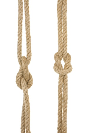 ship ropes with knot isolated on white background photo
