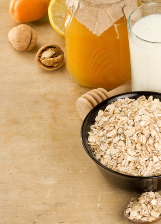cereals and healthy food on wood texture photo