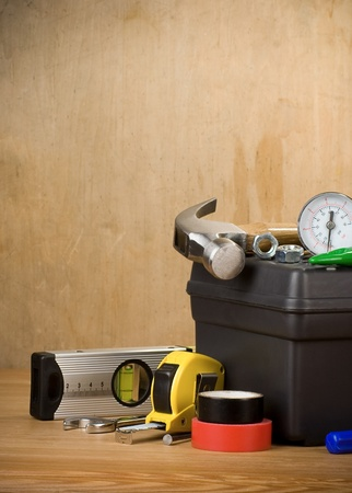 tools and toolbox on wood texture Stock Photo - 11755971