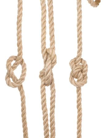 fixed line: Enviamos las cuerdas con un nudo aisladas sobre fondo blanco