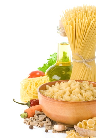 raw pasta and healthy food isolated on white background photo