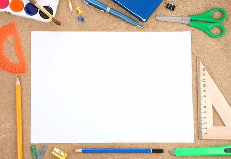 copy writing: school and office accessory with blank sheet Stock Photo
