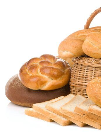set of bakery products isolated on white background photo