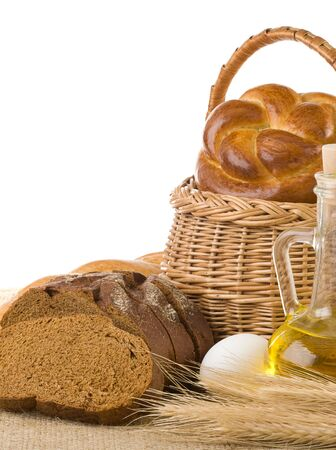bread and bakery products isolated on sack burlap background photo