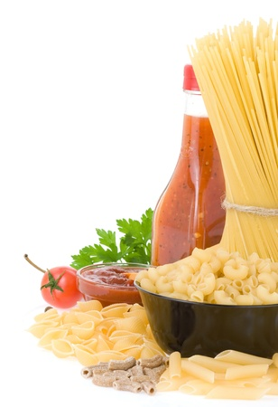 raw pasta and food ingredient isolated on white background Stock Photo - 11927323