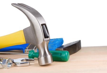 construction tools isolated on white background photo