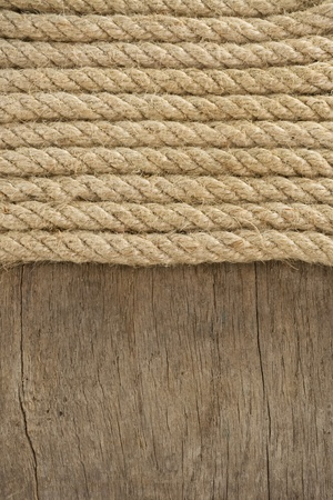 fixed line: cuerda de barco y la textura de madera vieja de fondo