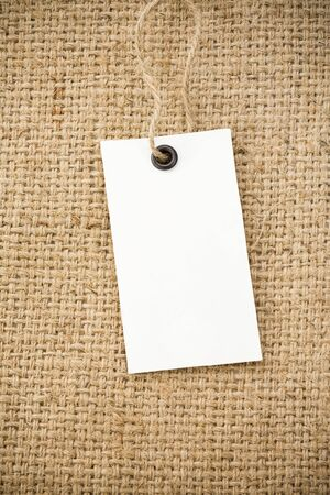 burlap: price tag and sack burlap background texture Stock Photo