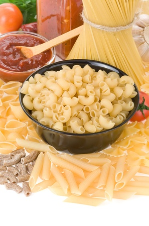 raw pasta and food ingredient isolated on white background Stock Photo - 11927310