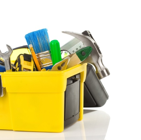 set of tools in black toolbox isolated on white background Stock Photo - 11927404