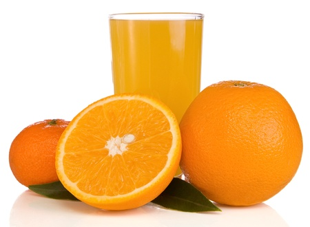 juice and orange on white isolated on white background photo