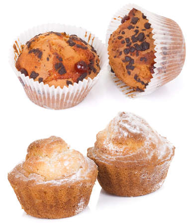 solated: cupcakes and muffins solated on white background Stock Photo