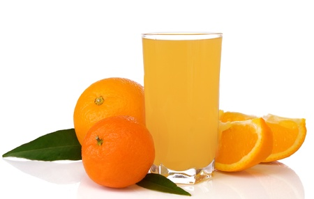 juice and oranges isolated on white background photo