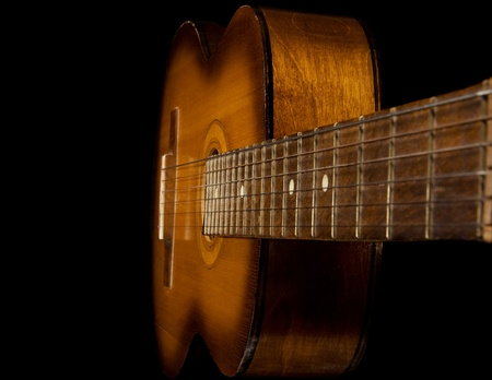 classical guitar on black background photo