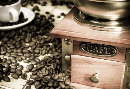 coffee beans, cup and grinder on sacking Stock Photo - 12042027