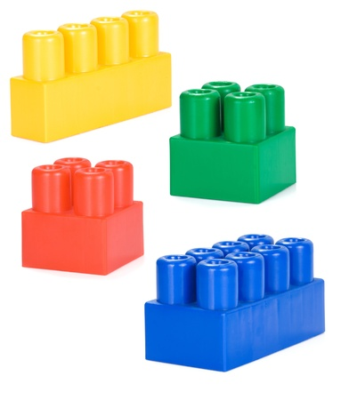 plastic bricks: colorful plastic bricks isolated on white background
