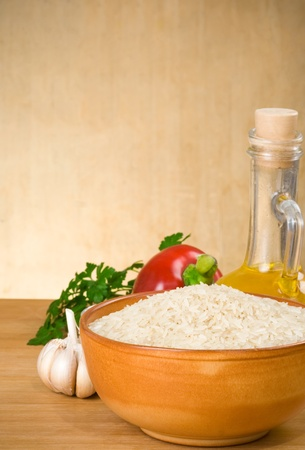 rice and food ingredient on wood background photo