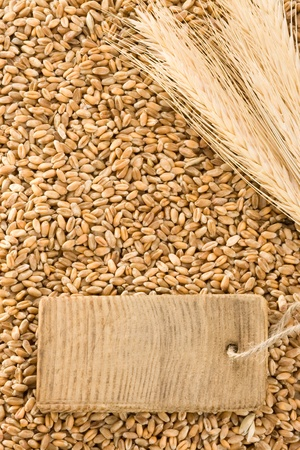 wheat grain and spike ear with wood photo