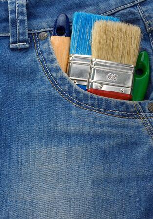 tool on jeans texture pocket photo