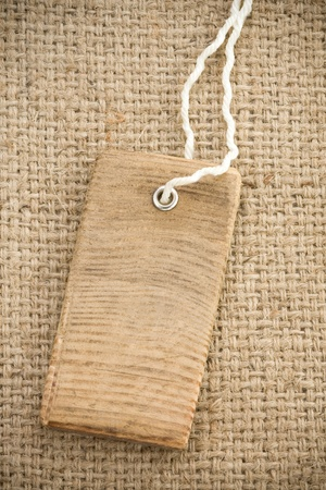 sack burlap background texture and price tag photo