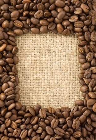coffee beans on sack burlap background