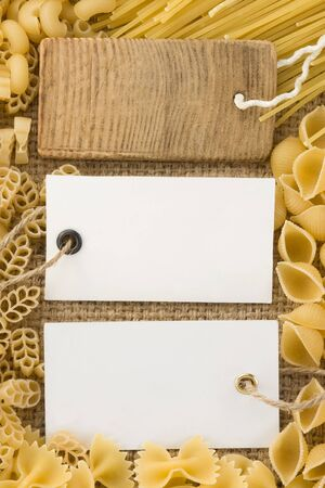 uncooked raw pasta and price tag photo