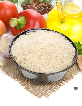 rice and food ingredient isolated on white background photo