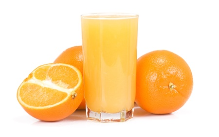juice and orange on white background photo
