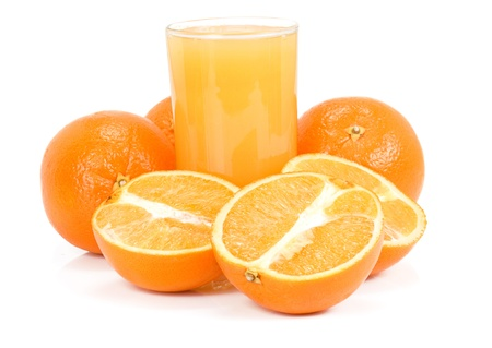 orange and juice isolated on white background photo