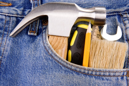 set of tools and instruments in jeans photo