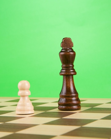 black piece on board isolated on green background photo