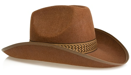 brown leather hat: brown cowboy hat isolated on white background