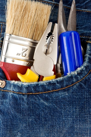 tools and instruments in old blue jeans Stock Photo - 12311433