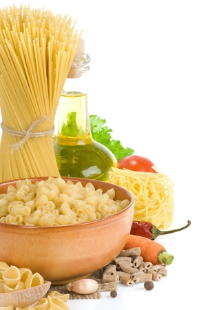 pasta and food ingredient isolated on white background photo