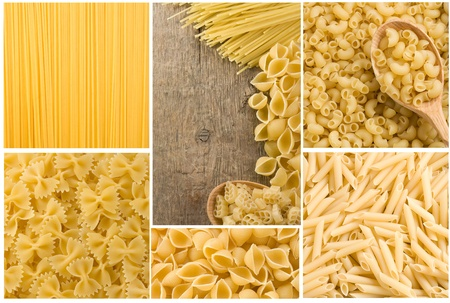 collage of raw pasta as background photo