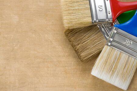 brush on wood background texture Stock Photo - 12311455