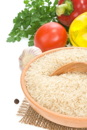 rice and vegetable with food ingredient isolated on white background photo