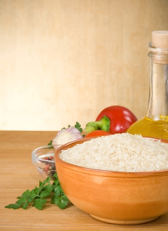 rice and food vegetable with spice on wood background photo