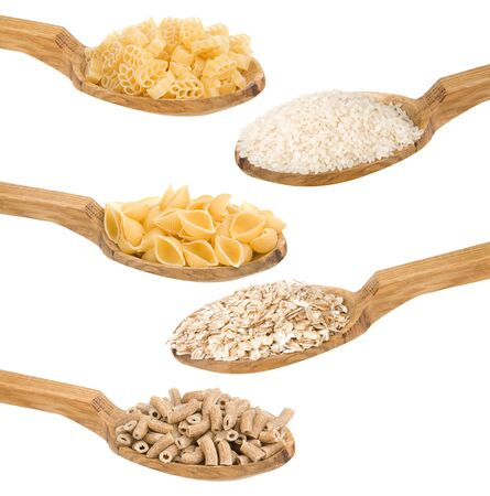 pasta and rice in wooden spoon isolated on white background photo