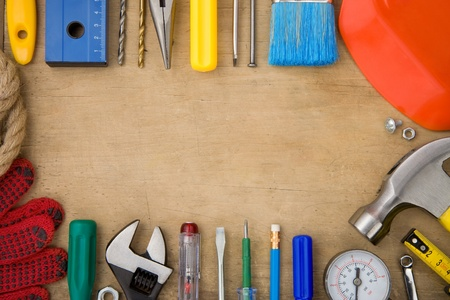 set of tools on wood background texture Stock Photo - 12311369