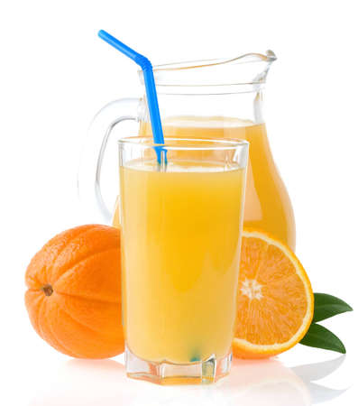 orange juice in glass and slices isolated on white  background photo