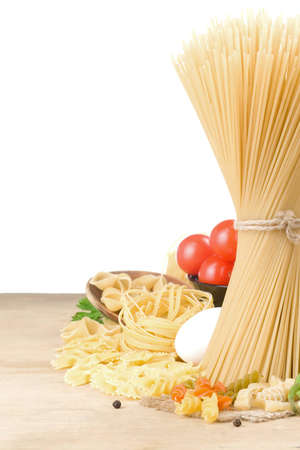 pasta and food vegetable isolated on white background photo
