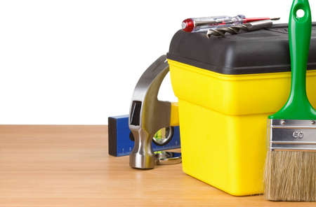 toolbox and construction tools isolated on white background Stock Photo - 12411208