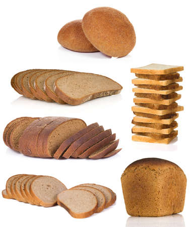 collage of bread isolated on white background photo