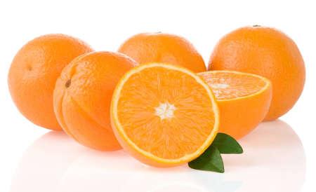 orange fruit and slices isolated on white background photo