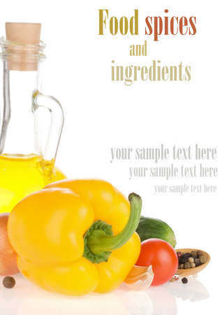 food oil and vegetable isolated on white background photo