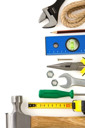 set of construction tools isolated on white background photo