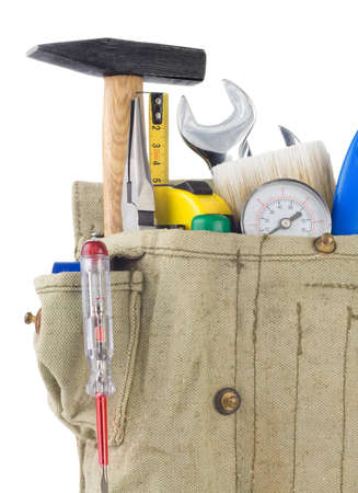 tools in belt bag isolated on white background Stock Photo - 12411173